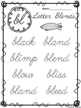 20 Cursive Blends Tracing Worksheets. Kindergarten-2nd