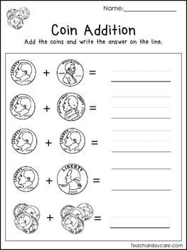 20 Money Worksheets. Coin Addition, Paper Money Addition