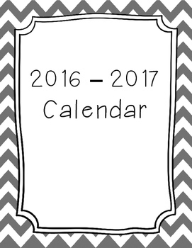 2017-2018 Monthly Calendar Grey Chevron by Crafty Dog