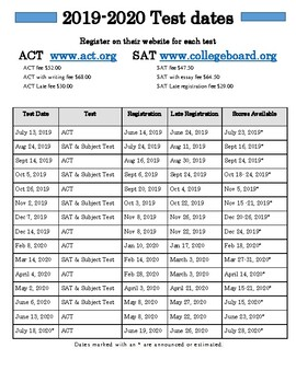 2019-2020 SAT/ ACT Dates by College Junkee | Teachers Pay Teachers