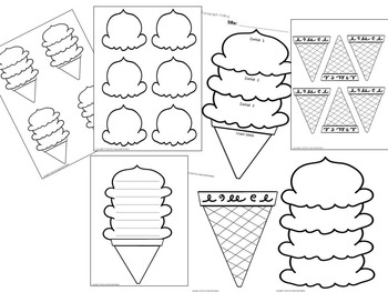 ICE CREAM Patterns, Shapes and Templates (EDITABLE) by