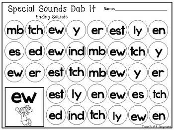 29 Ending Special Sounds Dab It Worksheets. Kindergarten