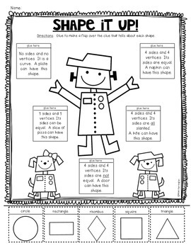 2D {Plane} Shapes Printables for Kindergarten Common Core