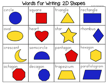 2d shapes word list