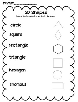 2D shapes draw a line to match worksheet by Sunshine to a