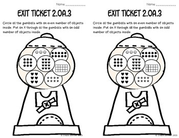 Even and Odd Numbers Math Tasks and Exit Tickets by Create