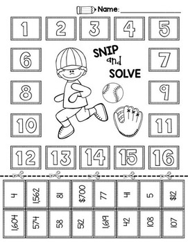 2nd & 3rd Grade Problem Solving: Baseball Edition by