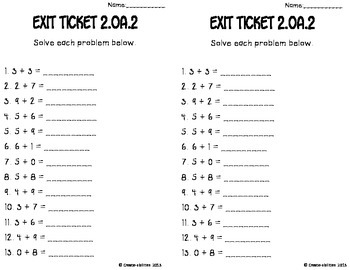 Add and Subtract Within 20 Math Tasks and Exit Tickets by