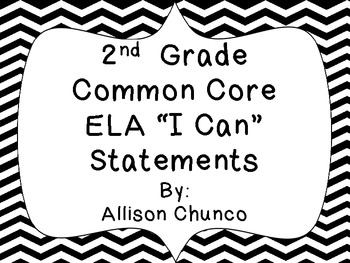 2nd Grade Common Core ELA I Can Statement Cards_Black