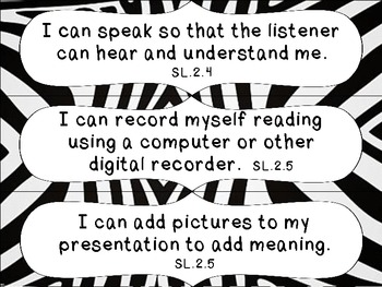2nd Grade Common Core ELA I Can Statement Cards_Zebra by