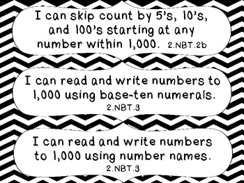 2nd Grade Common Core Math I Can Statement Cards_Black