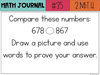 2nd Grade Common Core Math Journal with 100 Prompts by Not