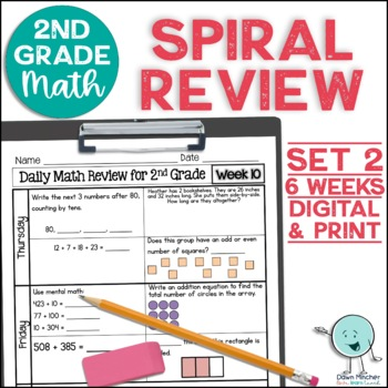 2nd Grade Math Spiral Review Morning Work Set 2 (6 weeks)   TpT