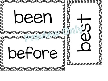 2nd Grade Dolch Sight Words ~ Black and White Chevron