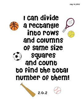 2nd Grade Geometry Common Core Math Standard I Can Posters