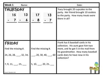 2nd Grade Math Spiral Review - Weeks 1-3 by Lovin' Education   TpT