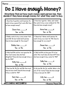 Money Word Problems Free Printable Worksheet Grade 2 – DokterAndalan