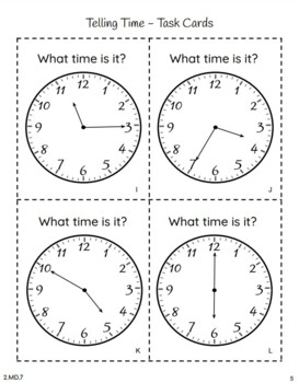 2nd Grade: Telling Time to The Nearest Five Minutes {2.MD