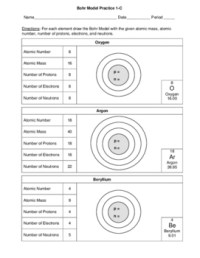 Bohr Model Practice - Orbitals Displayed -3 Worksheets - 4 ...