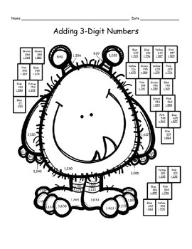Addition with Regrouping Coloring Pages, Riddles, and QR