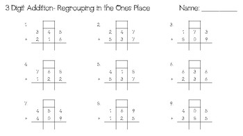 3-Digit Addition With Regrouping in the Ones Place