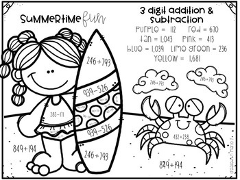 3 Digit Addition and Subtraction Number Summer Themed by