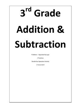 3 Digit Addition and Subtraction Problems. Practices, and