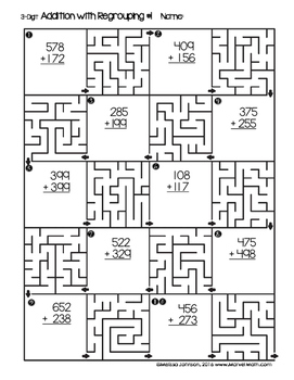 3 Digit Addition with Regrouping Maze Printable by Marvel
