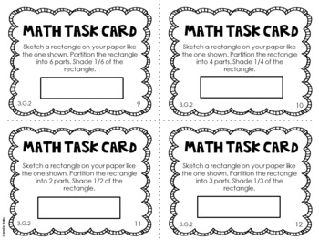 3.G.2 3rd Grade Math Task Cards (Partitioning 2-D Shapes