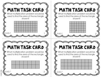 3.MD.7 3rd Grade Math Task Cards (Area) by Jennifer