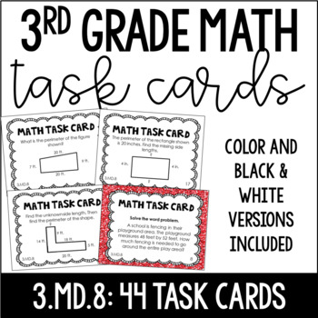 3.MD.8 3rd Grade Math Task Cards (Two Sets: Perimeter and