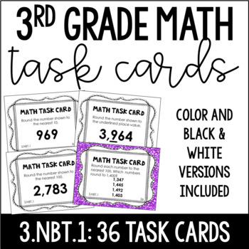 3.NBT.1 3rd Grade Math Task Cards (Rounding to the Nearest