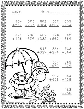 3.NBT.2 Spring Themed 3 Digit Addition With Regrouping by