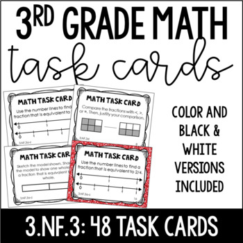 3.NF.3 3rd Grade Math Task Cards (Equivalent Fractions and