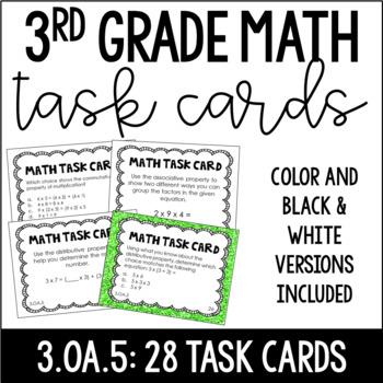 3.OA.5 3rd Grade Math Task Cards (Properties of