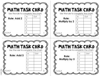 3.OA.9 3rd Grade Math Task Cards (Patterns) by Jennifer