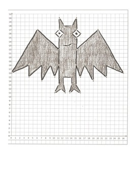 Halloween Coordinate Plane Graphing Pictures: Cat, Bat