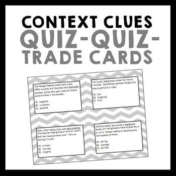 Context Clues Quiz-Quiz-Trade Cards {Set of 32} by Erika