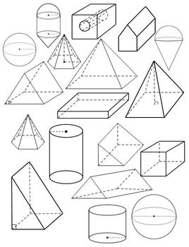 3D Geometrical Solids (Clip Art to Copy/Paste) by