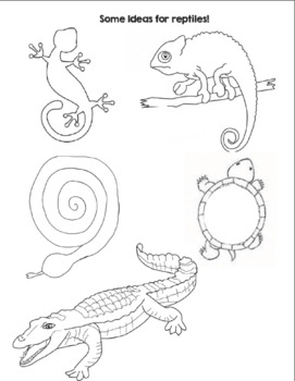 3D Reptiles Art Lesson and worksheets by A Space to Create