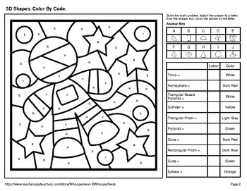 3d Shapes Color By Code Coloring Pages Outer Space By Whooperswan