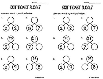 Math Facts Math Tasks and Exit Tickets by Create-Abilities