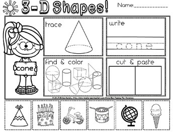3d shapes Kindergarten practice sheets by Eye Popping Fun
