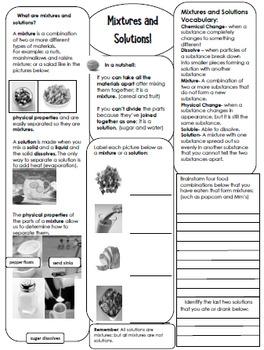 Mass, Matter, Mixtures & Solutions Interactive Notebook
