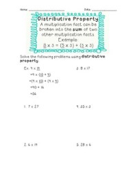 Distributive Property Third Grade Worksheets. Distributive ...