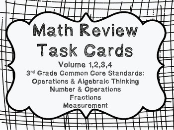 3rd Grade Common Core Math Review Bundle (4 task card sets