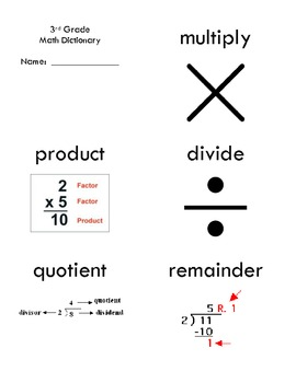 3rd Grade Common Core Math Vocabulary Flash Cards by