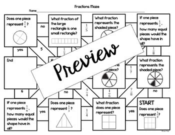 3rd Grade Fractions Math Maze Activities by A Math Mission