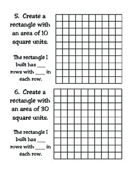 3rd Grade Math: Determining Area Using Grid Paper TEKS 3