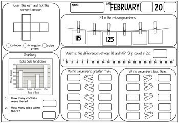 3rd Grade Math Review (No Prep) February by Miss Rainbow